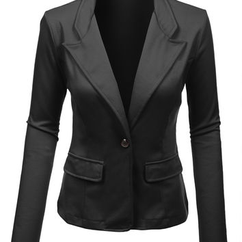 LE3NO Womens Fitted Single Button Long Sleeve Blazer Jacket with Stretch (CLEARANCE)