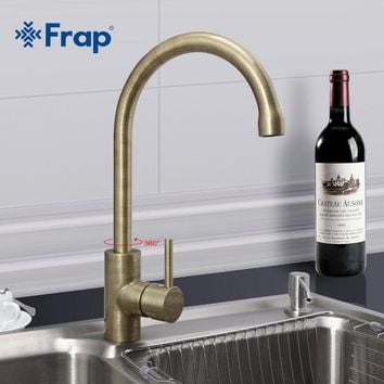 Frap New Arrival Retro Style Bronze Brushed Kitchen Faucet Cold and Hot Water Mixer Single Handle 360 Degree Rotation F4052-4