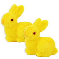 Yellow Flocked Bunny Rabbit Cake Toppers