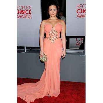 Demi Lovato Strapless Corset Chiffon Prom Dress Bridesmaid Dress 2012 People Choice Awards For Sale