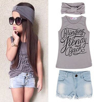 Bringing Trendy Back Girls 3 Piece Outfit. Tank Top Shorts and Headband