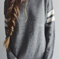Striped Sleeve Knitted Casual Sweatshirt
