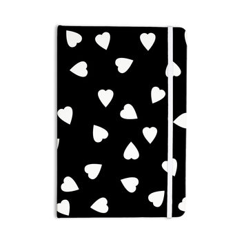 """Suzanne Carter """"Hearts White"""" Black Everything Notebook"""
