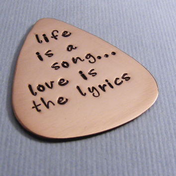 Custom Guitar Pick Love You to The Moon and Back Hand Stamped Music Lovers Men Gift for Him Birthday Copper