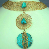 18K Goldfilled Knitted Wire Mesh Choker Bib Necklace Women Jewelry with Turquoise Statement Jewellery Handmade Unique Mother Gift Idea OOAK