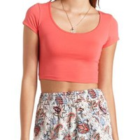 Cotton Short Sleeve Crop Top by Charlotte Russe