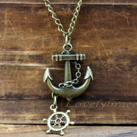 The sailor antiqued bronze anchor necklace of classicism, the navy rudder necklace pendant