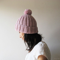 Hand Knitted Chunky Hat in Light Pink - Beanie with Pom Pom - Seamless - Wool Blend - Ready to Ship