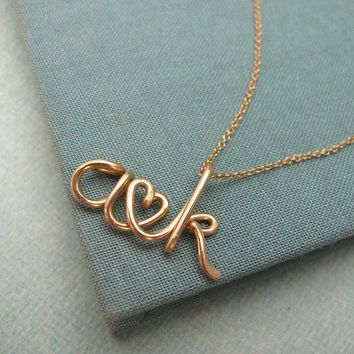 Two Lovers14K Custom Initials Necklace