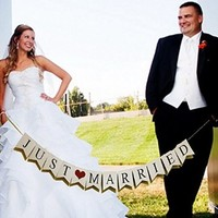 Just Married Vintage Wedding Bunting Banner Photo Booth Props Signs Garland Bridal Shower Wedding Decoration