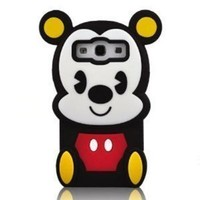 FJX Black 3D Cute Little Mickey Mouse Soft Silicone Case Cover Compatible for Samsung Galaxy S3 I9300