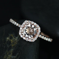 Barra Petite Size 14kt Rose Gold Thin Morganite Cushion Halo Engagement Ring (Other metals and stone options available)