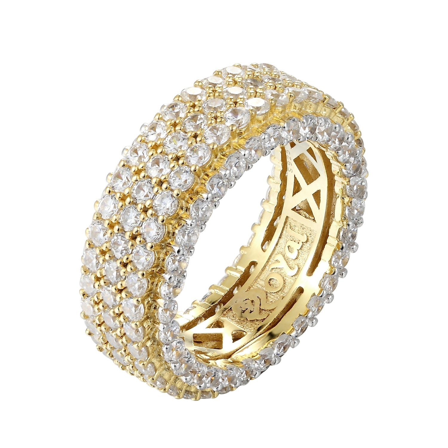 Image of 14k Gold Finish 3 Row Band Icy Men's Sterling Silver Band
