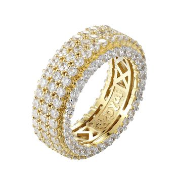 14k Gold Finish 3 Row Band Icy Men's Sterling Silver Band