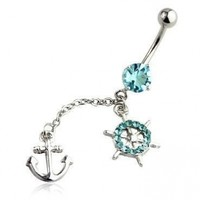 Anchor Belly Ring Long Sexy Dangle with CZ Stones 14G Belly Piercing 1.6mm Belly Button Ring Surgical Steel Bar 14 Gauge + 1 Free Belly Retainer - Choose your Color:Amazon:Jewelry