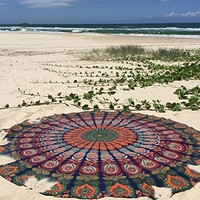 1 X Indian Mandala Round Roundie Beach Throw Tapestry Hippy Boho Gypsy Cotton Tablecloth Beach Towel , Round Yoga Mat
