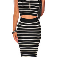Black Stripe Sleeveless Crop Top and Knit Midi Skirt