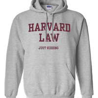 Harvard Law Just Kidding joke Hoodie crewneck Printed sweater Sweatshirt Mens Womens Ladies stupid Funny College School University DT-016