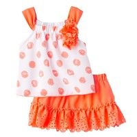 Little Lass Polka-Dot Tank Top & Skort Set - Baby Girl, Size: