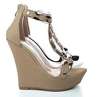 Stephy90 By Delicacy, Open Toe Gold Plated T-Strap Platform Wedge Sandals