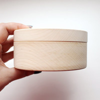 120 mm - Round unfinished wooden box - with cover - natural, eco friendly - 120 mm diameter - B101-120