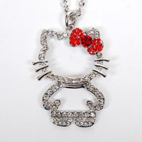 Hello Kitty Figure Rhinestones Necklace Chain New