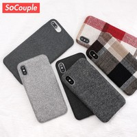 SoCouple Cloth Texture Soft TPU case For iphone 7 Case Ultra-thin Canvas Silicone Phone Cases For iphone 6 6S 7 8 Plus X Xs Max