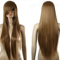 HealthTop Long Straight Caramel Brown Brand New Heat Resistance Cosplay Wig Anime Show & Party Wig& Performance Hair Full Wigs + Free Cap