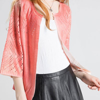 Cut Out Gold Foil Stamping Knitted Cardigan in Pink