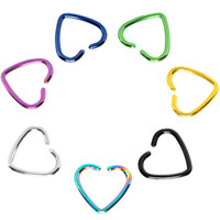 Rainbow Titanium Hollow Heart Clip On Closure Cartilage Tragus Earring | Body Candy Body Jewelry