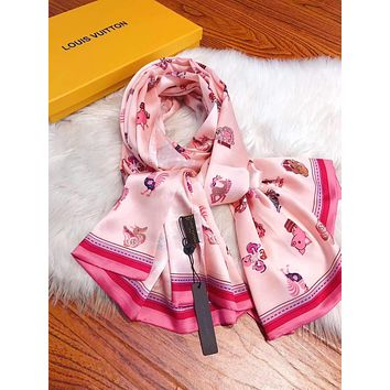 """""""LOUIS VUITTON"""" Woman Casual Fashion Cartoon Animals Print Spell Color Stripe Chiffon Double Sided Square Pattern Silk Scarf"""
