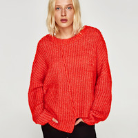 ASYMMETRIC SWEATER WITH VISIBLE SEAM Orange - S