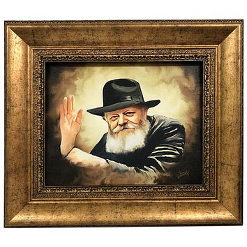 Chabad Lubavitch Rebbe Painting on Canvas- Vintage Style Large