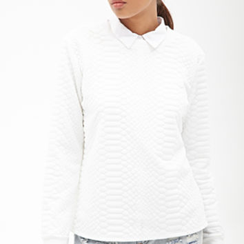 FOREVER 21 Crocodile-Textured Sweatshirt Cream