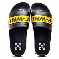 Off White New fashion letter arrow print flip flop slippers shoes Black