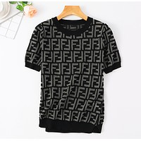 Fendi Fashion New More Letter Print Short Sleeve Dress Women Black