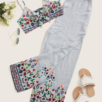 Flower Embroidered Striped Knot Cami Top & Pants Set
