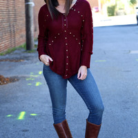 Lovely In Studs Knit {Burgundy}