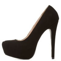 Qupid Almond Toe Platform Pumps by Charlotte Russe - Black