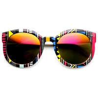 Womens Oversized Native Print Color Mirror Lens Round Sunglasses