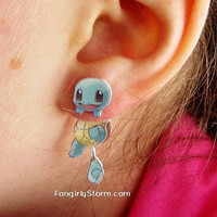 Squirtle Pokemon Clinging earrings Handmade kawaii geeky gamer two part front and back post earrings