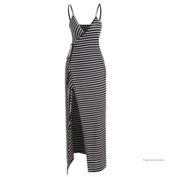 Sexy Ladies Women Deep V Neck Spaghetti Strap Striped Casual Long Wrap Dress = 1838537092