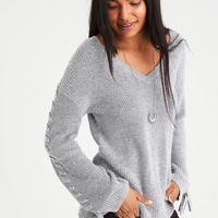 AE Laced Tie-Sleeve V-Neck Sweater, Gray