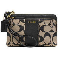 COACH LEGACY DOUBLE ZIP WRISTLET IN PRINTED SIGNATURE FABRIC
