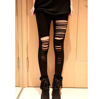 Sexy Black Gothic Punk Style Torn Leggings