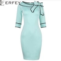Half Sleeve  Bow Retro Office Business Bodycon Dress