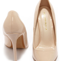 Aisle Be Waiting Nude Patent Pointed Pumps