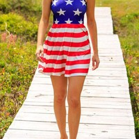 Casual Blue Striped American Flag Print Draped Sleeveless Cute Mini Dress