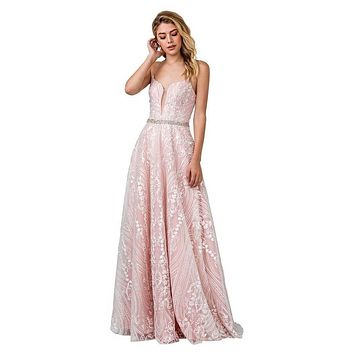 Blush/Pink Long Prom Dress with Lace-Up Back