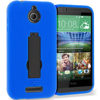 Blue / Black Hybrid Heavy Duty Armor Case Cover with Stand for HTC Desire 510